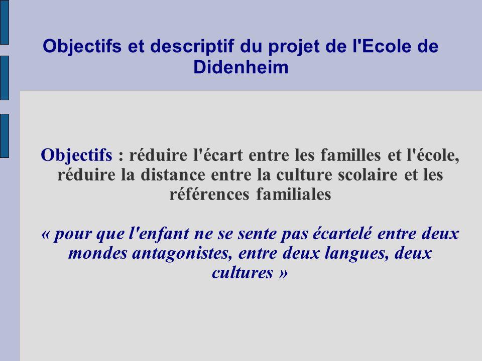 Objectifs et descriptif du projet de l'Ecole de Didenheim Objectifs : réduire l'écart entre les familles et l'école, réduire la distance entre la cult