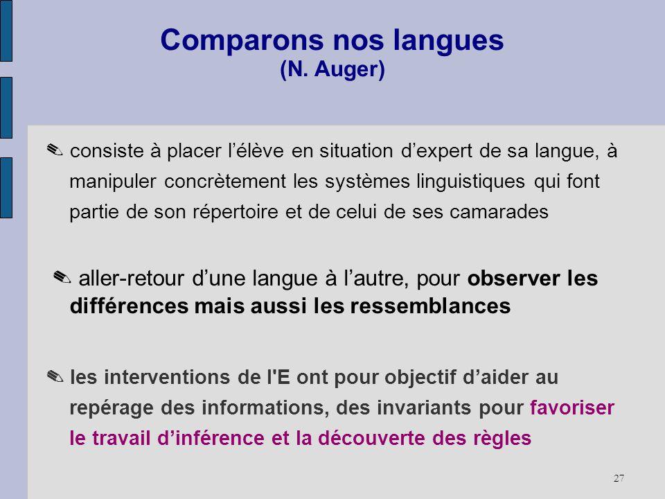 27 Comparons nos langues (N. Auger) consiste à placer lélève en situation dexpert de sa langue, à manipuler concrètement les systèmes linguistiques qu