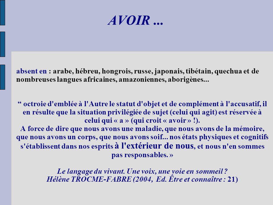 AVOIR... absent en : arabe, hébreu, hongrois, russe, japonais, tibétain, quechua et de nombreuses langues africaines, amazoniennes, aborigènes... octr