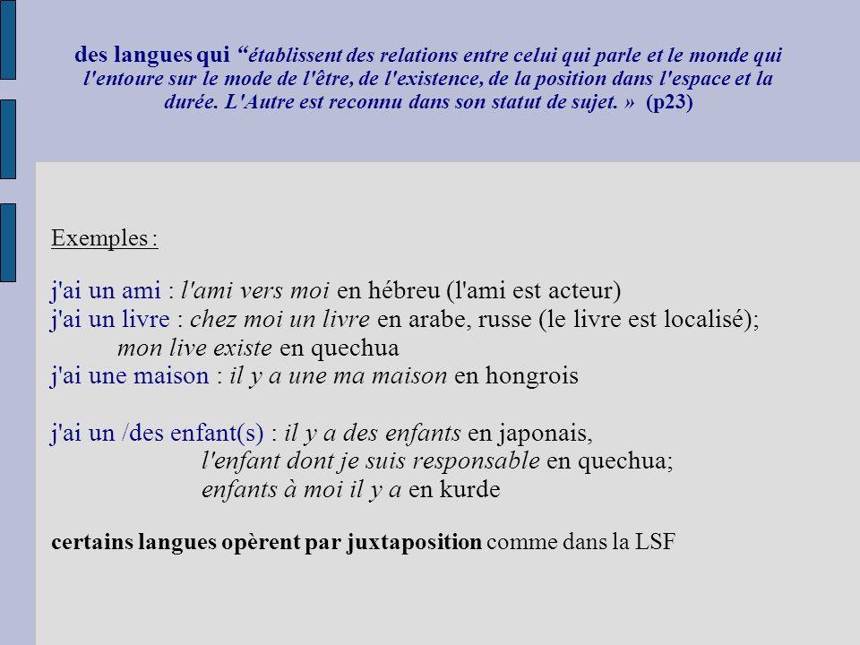 des langues qui établissent des relations entre celui qui parle et le monde qui l'entoure sur le mode de l'être, de l'existence, de la position dans l