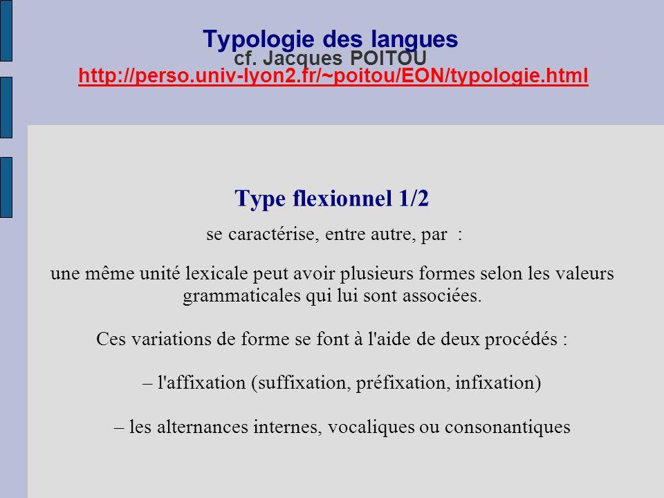 Typologie des langues cf. Jacques POITOU http://perso.univ-lyon2.fr/~poitou/EON/typologie.htmlhttp://perso.univ-lyon2.fr/~poitou/EON/typologie.html Ty