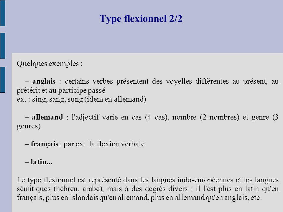 Type flexionnel 2/2 Quelques exemples : – anglais : certains verbes présentent des voyelles différentes au présent, au prétérit et au participe passé