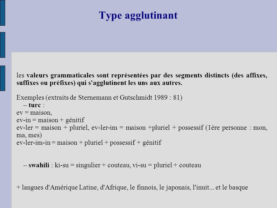 Type agglutinant les valeurs grammaticales sont représentées par des segments distincts (des affixes, suffixes ou préfixes) qui s'agglutinent les uns