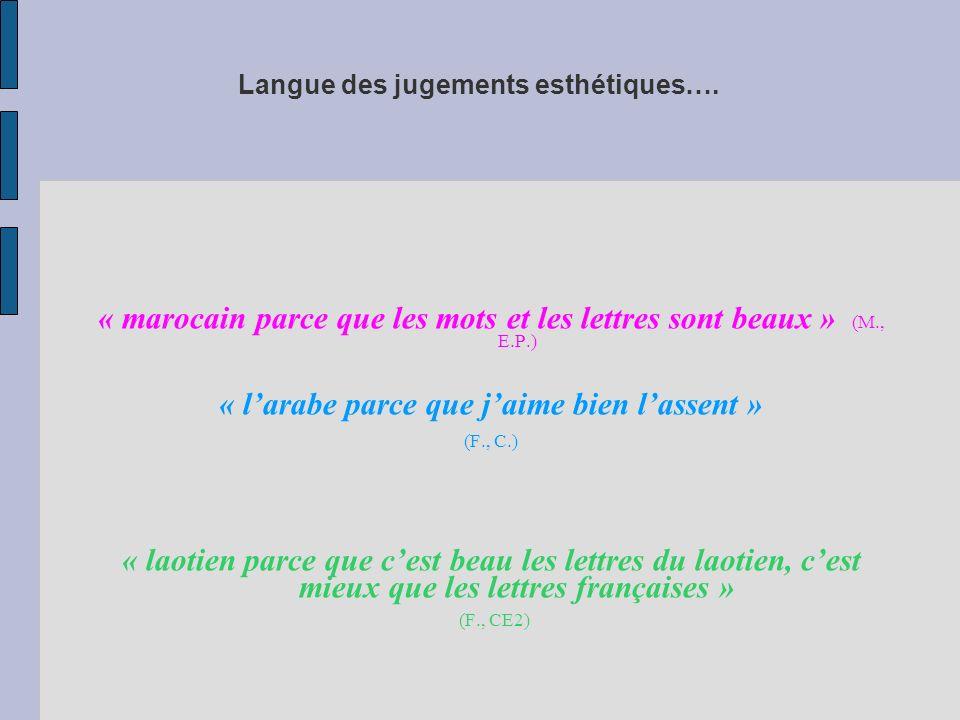 Langue des jugements esthétiques…. « marocain parce que les mots et les lettres sont beaux » (M., E.P.) « larabe parce que jaime bien lassent » (F., C