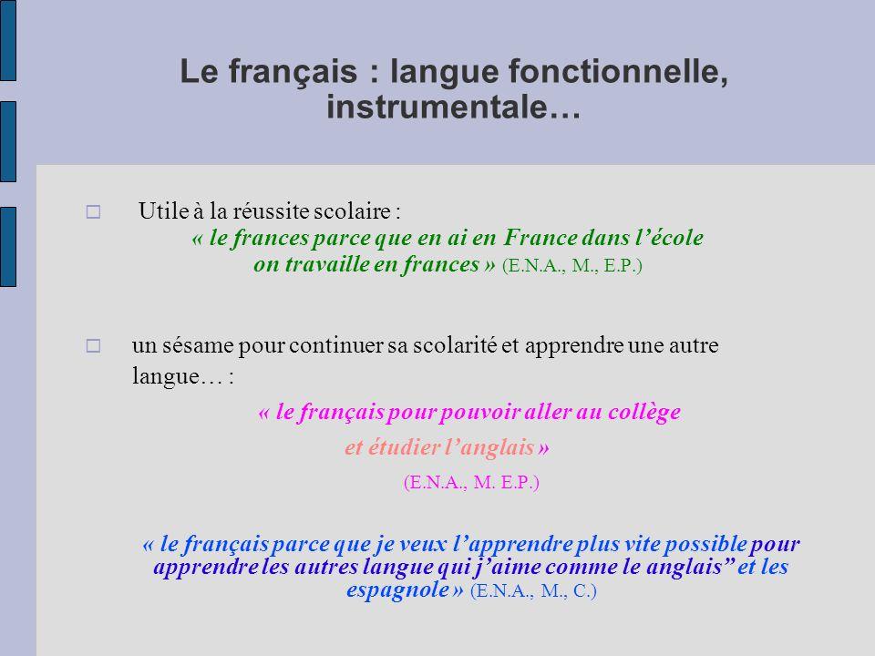 Apprendre le français : une injonction… « français car il faut le parler pour pouvoir suivre en France » (E.N.A., M., C.) « français parce que on parle français et cest oubligit parle en collège » (E.N.A., F., C.)