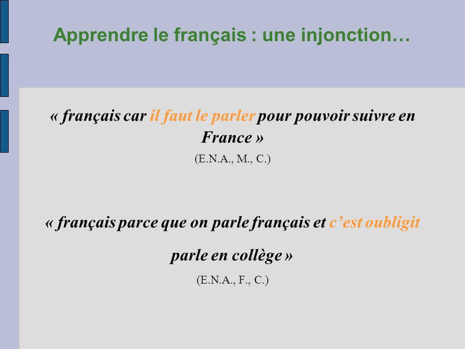 Apprendre le français : une injonction… « français car il faut le parler pour pouvoir suivre en France » (E.N.A., M., C.) « français parce que on parl