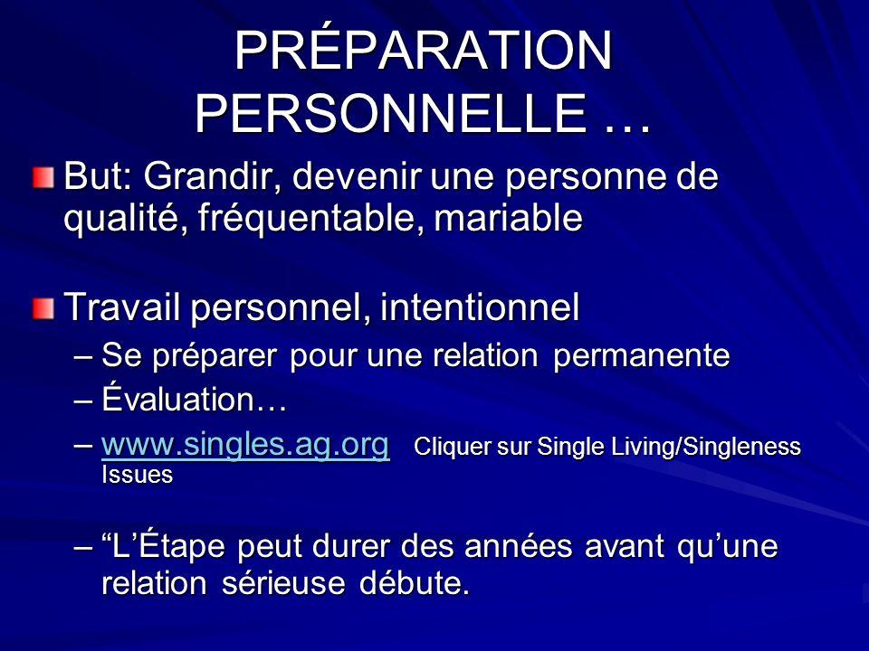PRÉPARATION PERSONNELLE … But: Grandir, devenir une personne de qualité, fréquentable, mariable Travail personnel, intentionnel –Se préparer pour une