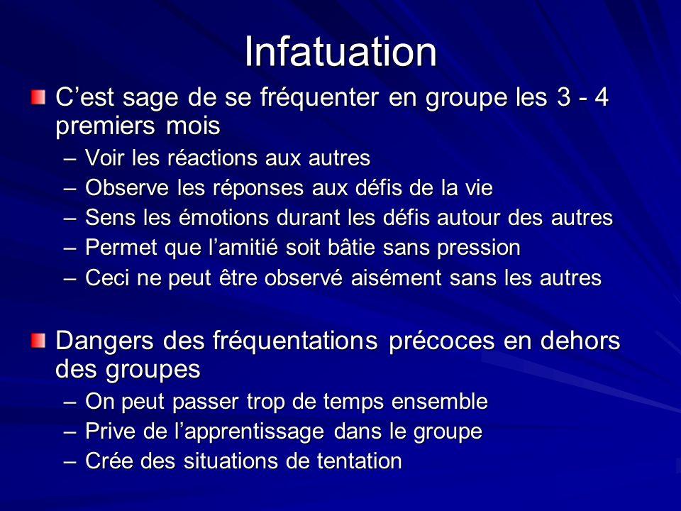 Infatuation Cest sage de se fréquenter en groupe les 3 - 4 premiers mois –Voir les réactions aux autres –Observe les réponses aux défis de la vie –Sen