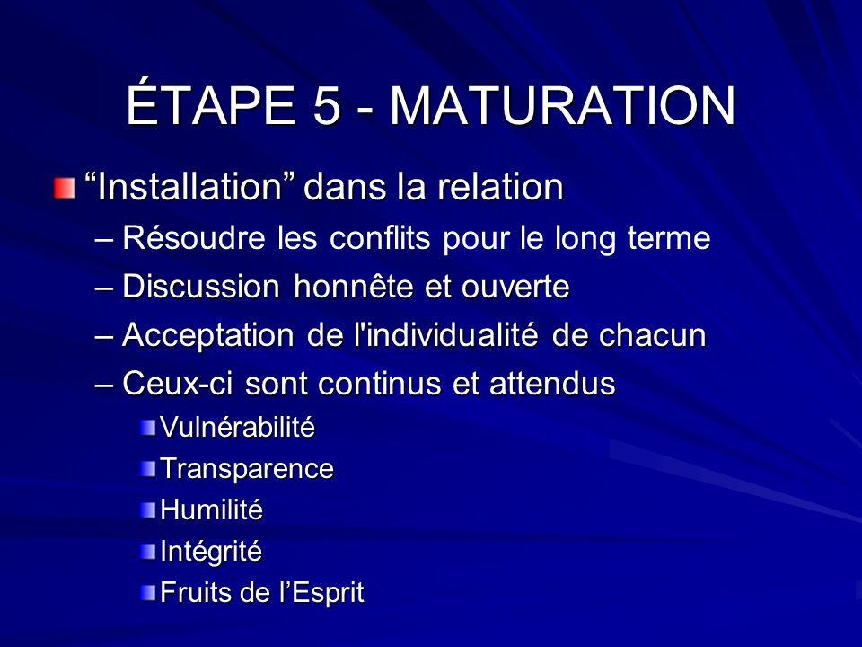ÉTAPE 5 - MATURATION Installation dans la relation – –Résoudre les conflits pour le long terme –Discussion honnête et ouverte –Acceptation de l'indivi