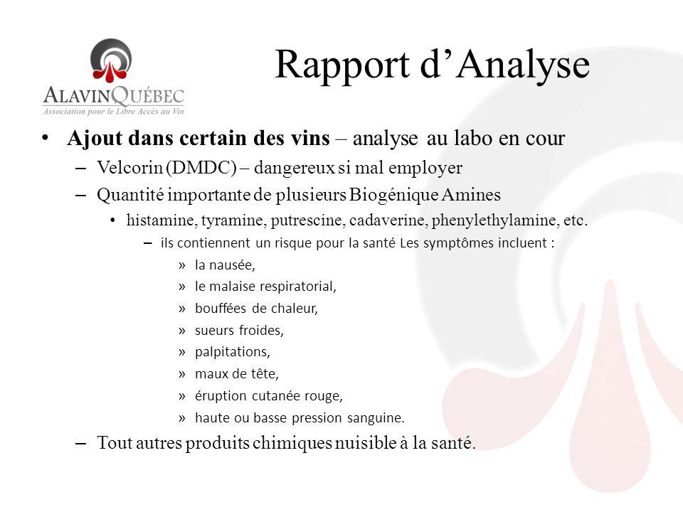 Rapport dAnalyse Ajout dans certain des vins – analyse au labo en cour – Velcorin (DMDC) – dangereux si mal employer – Quantité importante de plusieurs Biogénique Amines histamine, tyramine, putrescine, cadaverine, phenylethylamine, etc.