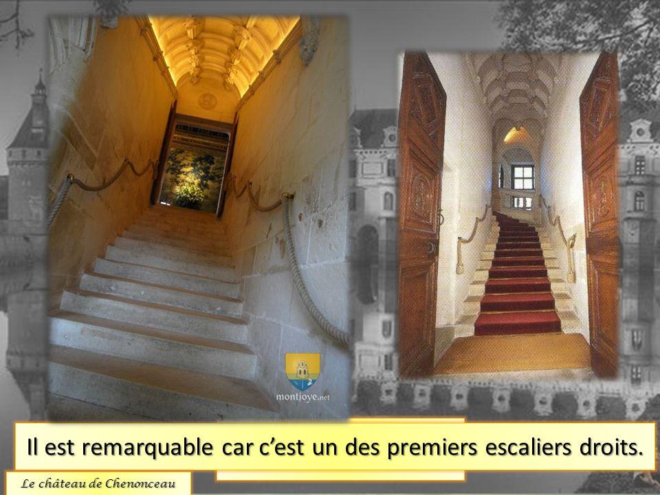 Lescalier. Il est remarquable car cest un des premiers escaliers droits. Le château de Chenonceau