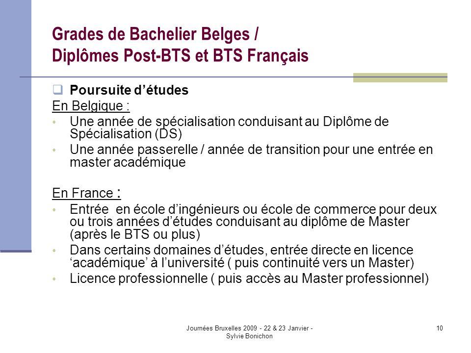 Journées Bruxelles 2009 - 22 & 23 Janvier - Sylvie Bonichon 10 Grades de Bachelier Belges / Diplômes Post-BTS et BTS Français Poursuite détudes En Bel