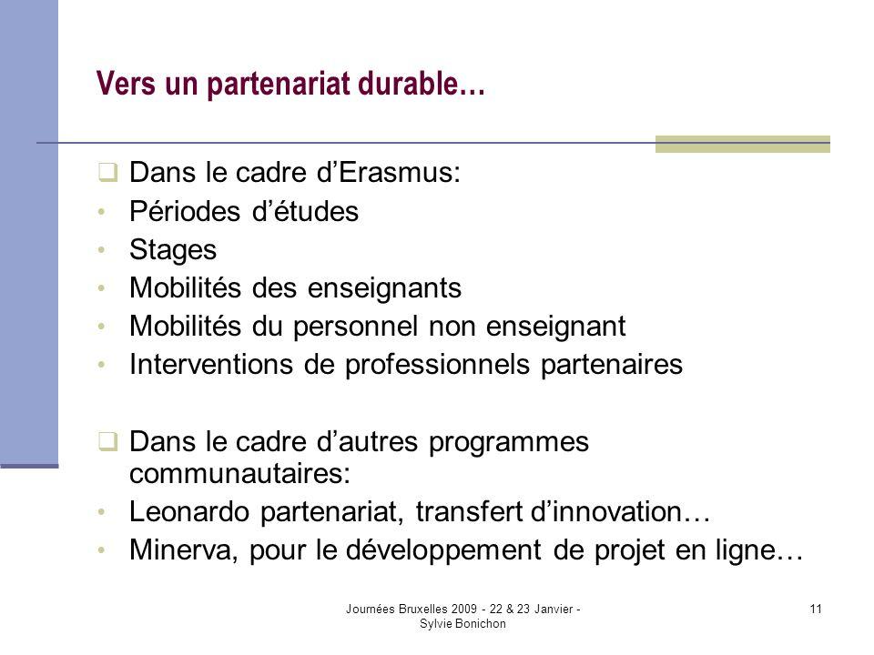 Journées Bruxelles 2009 - 22 & 23 Janvier - Sylvie Bonichon 11 Vers un partenariat durable… Dans le cadre dErasmus: Périodes détudes Stages Mobilités