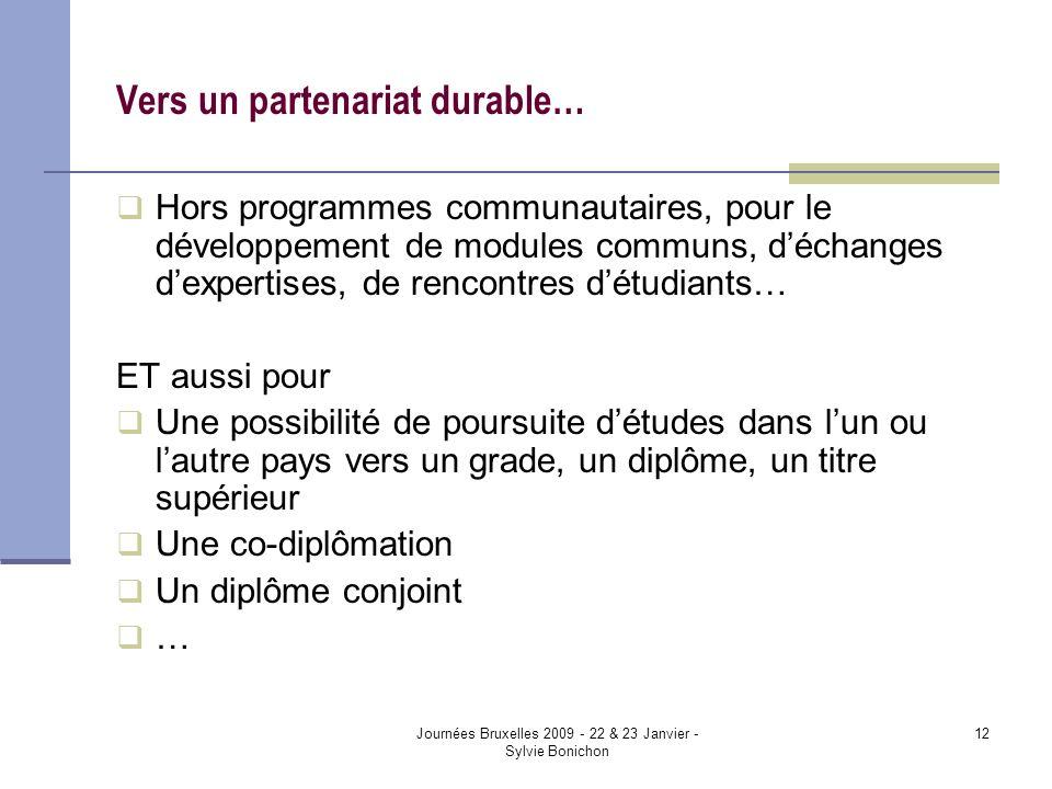 Journées Bruxelles 2009 - 22 & 23 Janvier - Sylvie Bonichon 12 Vers un partenariat durable… Hors programmes communautaires, pour le développement de m