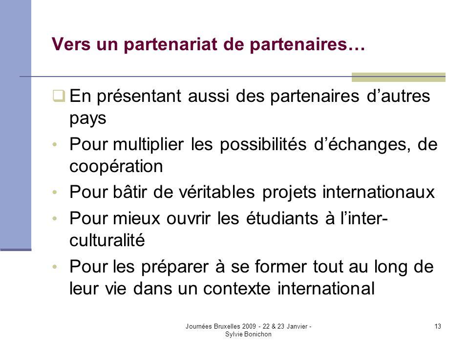 Journées Bruxelles 2009 - 22 & 23 Janvier - Sylvie Bonichon 13 Vers un partenariat de partenaires… En présentant aussi des partenaires dautres pays Po