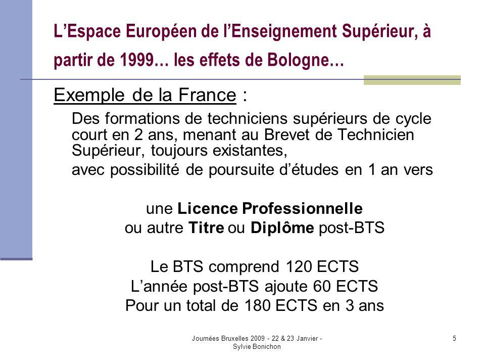 Journées Bruxelles 2009 - 22 & 23 Janvier - Sylvie Bonichon 5 LEspace Européen de lEnseignement Supérieur, à partir de 1999… les effets de Bologne… Exemple de la France : Des formations de techniciens supérieurs de cycle court en 2 ans, menant au Brevet de Technicien Supérieur, toujours existantes, avec possibilité de poursuite détudes en 1 an vers une Licence Professionnelle ou autre Titre ou Diplôme post-BTS Le BTS comprend 120 ECTS Lannée post-BTS ajoute 60 ECTS Pour un total de 180 ECTS en 3 ans