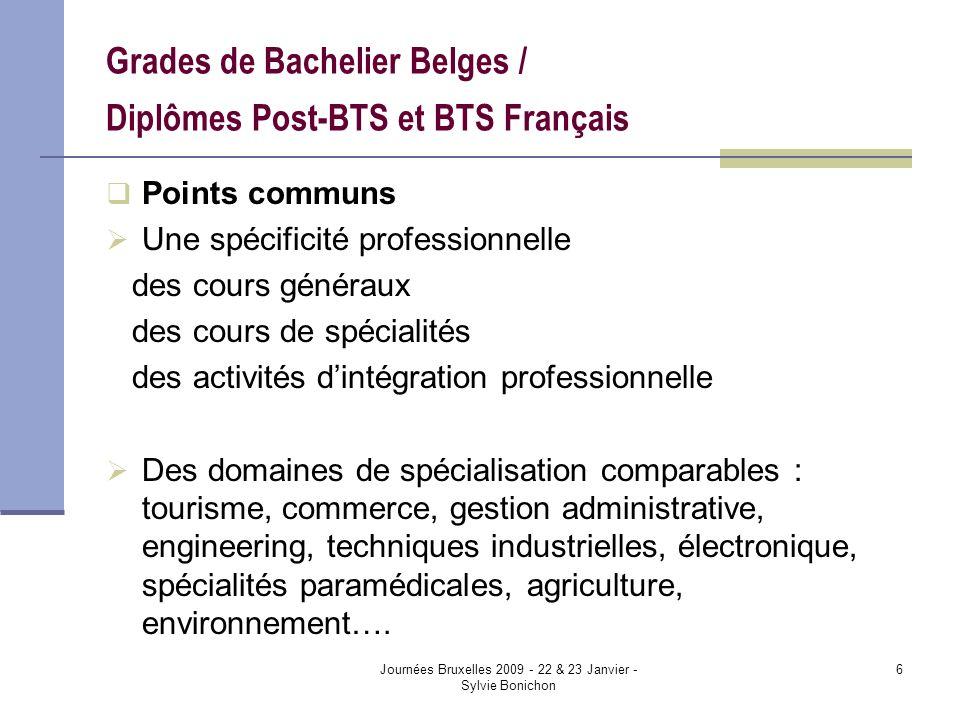 Journées Bruxelles 2009 - 22 & 23 Janvier - Sylvie Bonichon 6 Grades de Bachelier Belges / Diplômes Post-BTS et BTS Français Points communs Une spécif