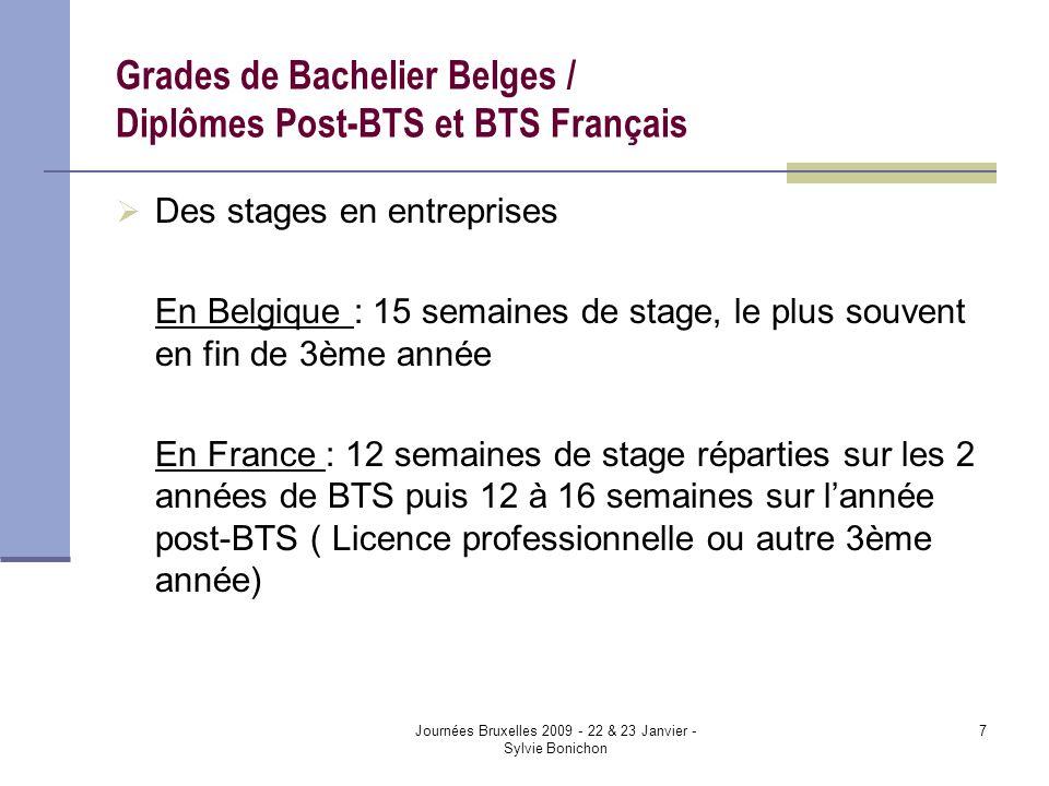 Journées Bruxelles 2009 - 22 & 23 Janvier - Sylvie Bonichon 7 Grades de Bachelier Belges / Diplômes Post-BTS et BTS Français Des stages en entreprises En Belgique : 15 semaines de stage, le plus souvent en fin de 3ème année En France : 12 semaines de stage réparties sur les 2 années de BTS puis 12 à 16 semaines sur lannée post-BTS ( Licence professionnelle ou autre 3ème année)
