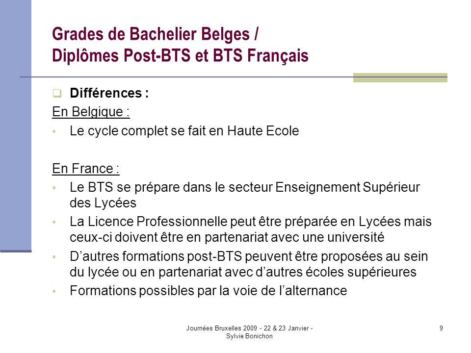 Journées Bruxelles 2009 - 22 & 23 Janvier - Sylvie Bonichon 9 Grades de Bachelier Belges / Diplômes Post-BTS et BTS Français Différences : En Belgique : Le cycle complet se fait en Haute Ecole En France : Le BTS se prépare dans le secteur Enseignement Supérieur des Lycées La Licence Professionnelle peut être préparée en Lycées mais ceux-ci doivent être en partenariat avec une université Dautres formations post-BTS peuvent être proposées au sein du lycée ou en partenariat avec dautres écoles supérieures Formations possibles par la voie de lalternance