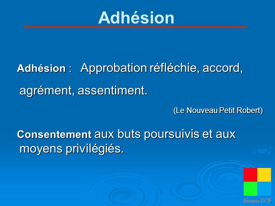 Adhésion Adhésion : Approbation réfléchie, accord, agrément, assentiment. (Le Nouveau Petit Robert) Consentement aux buts poursuivis et aux moyens pri