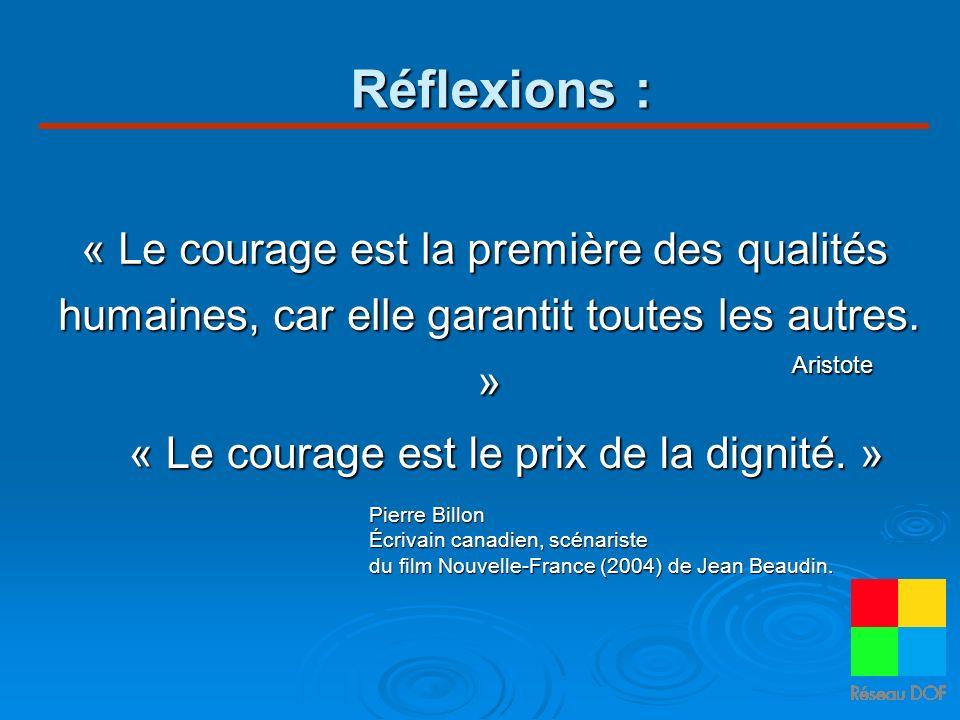 Réflexions : « Le courage est la première des qualités humaines, car elle garantit toutes les autres. » « Le courage est le prix de la dignité. » Pier