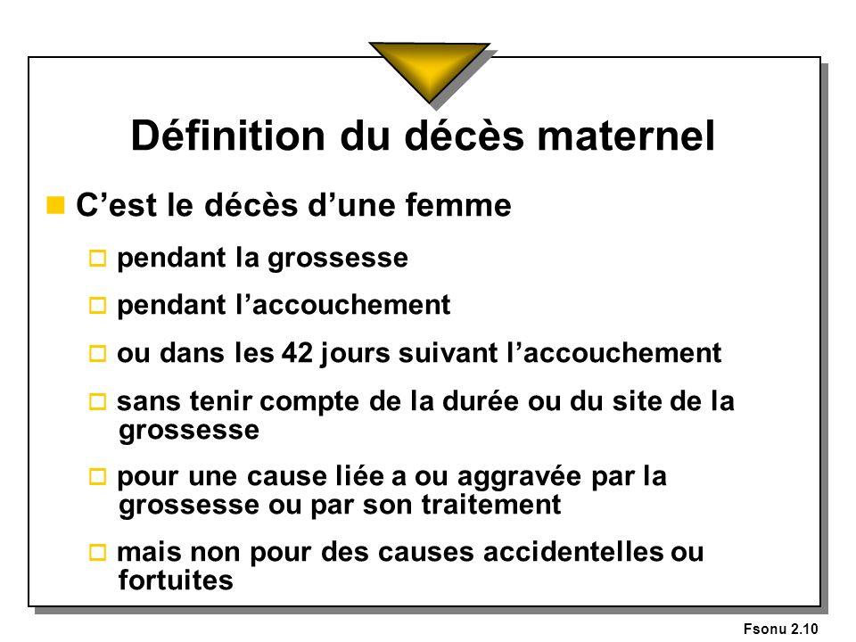 Fsonu 2.10 Définition du décès maternel n Cest le décès dune femme o pendant la grossesse o pendant laccouchement o ou dans les 42 jours suivant lacco