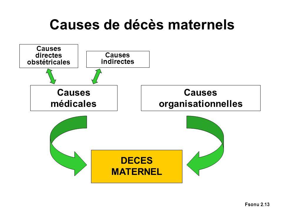 Causes de décès maternels DECES MATERNEL Causes organisationnelles Causes médicales Causes indirectes Causes directes obstétricales Fsonu 2.13
