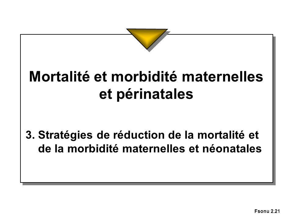 Fsonu 2.21 Mortalité et morbidité maternelles et périnatales 3. Stratégies de réduction de la mortalité et de la morbidité maternelles et néonatales