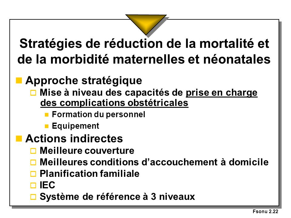 Fsonu 2.22 Stratégies de réduction de la mortalité et de la morbidité maternelles et néonatales n Approche stratégique o Mise à niveau des capacités d