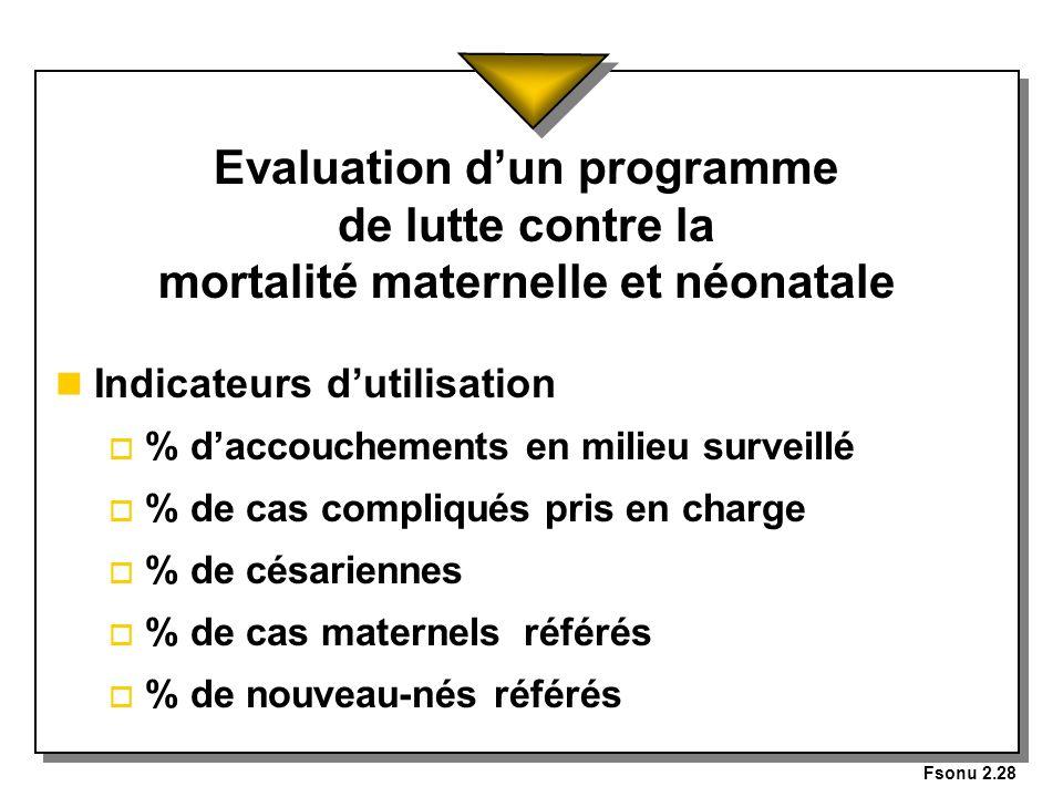 Fsonu 2.28 Evaluation dun programme de lutte contre la mortalité maternelle et néonatale n Indicateurs dutilisation o % daccouchements en milieu surve