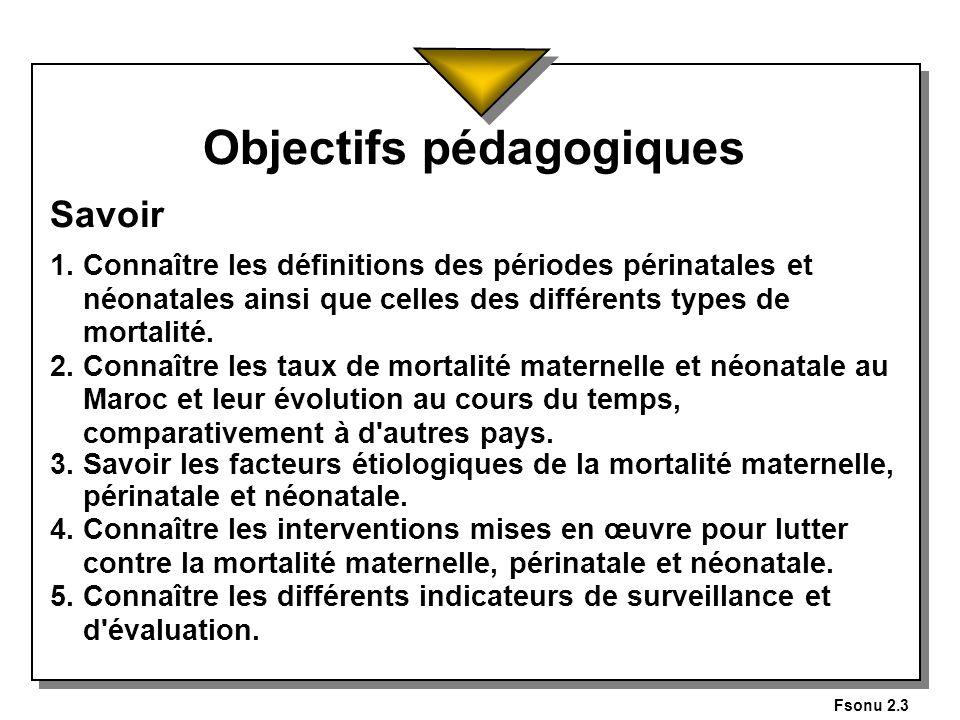 Fsonu 2.3 Objectifs pédagogiques Savoir 1. Connaître les définitions des périodes périnatales et néonatales ainsi que celles des différents types de m