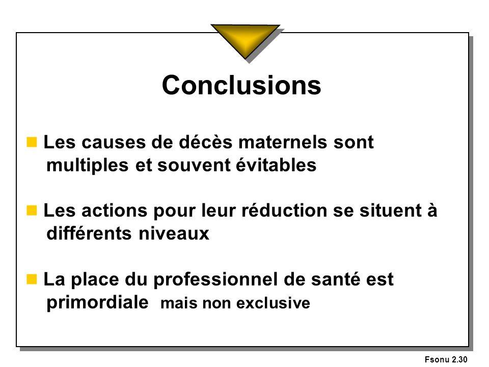 Fsonu 2.30 Conclusions n Les causes de décès maternels sont multiples et souvent évitables n Les actions pour leur réduction se situent à différents n