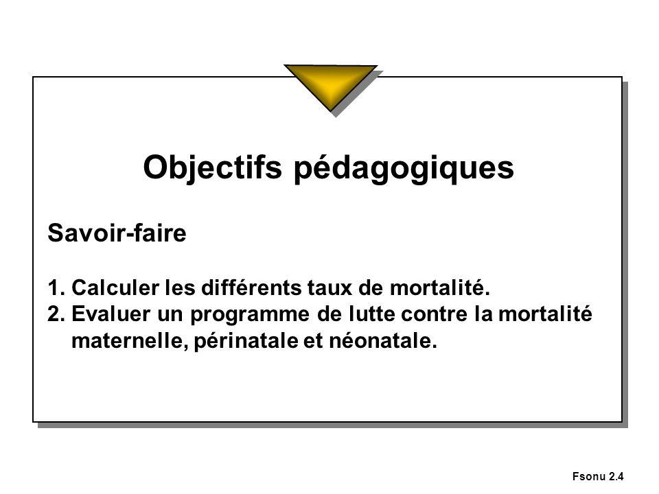 Fsonu 2.4 Objectifs pédagogiques Savoir-faire 1. Calculer les différents taux de mortalité. 2. Evaluer un programme de lutte contre la mortalité mater