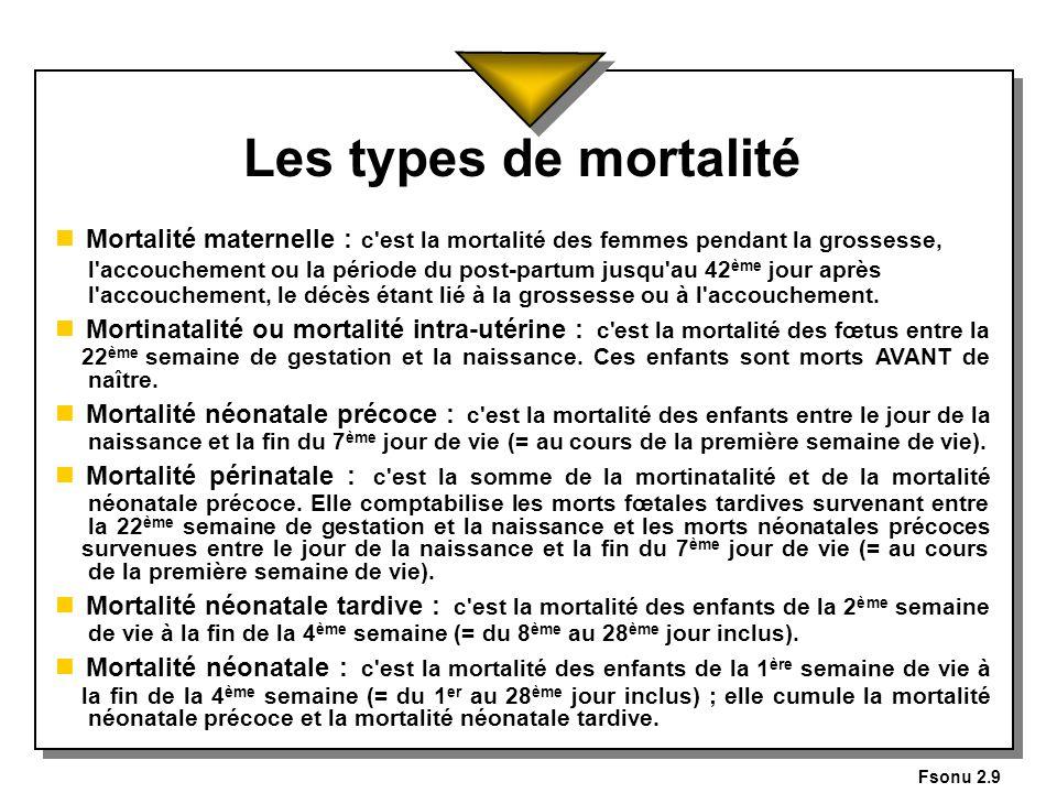 Fsonu 2.9 Les types de mortalité n Mortalité maternelle : c'est la mortalité des femmes pendant la grossesse, l'accouchement ou la période du post-par