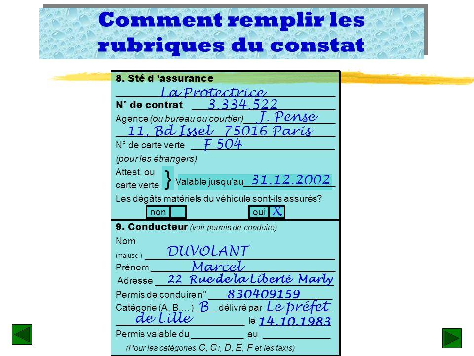 Remplir les rubriques zRubrique 8 – La société dassurance: nom et adresse complète de lagent local, n° du contrat, et date de validité. Notez que pour