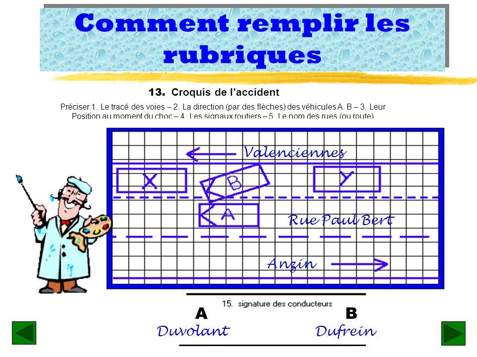 Remplir les rubriques z Rubrique 15 - Signature des conducteurs: cest lauthentification des circonstances de laccident. Ce qui revient à dire: « Toute