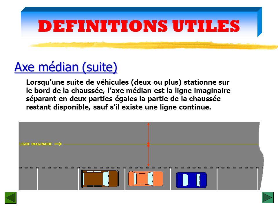 DEFINITIONS UTILES Il est matérialisé par une ligne continue ou discontinue au milieu de la chaussée. Axe médian Sil nest pas matérialisé, cest la lig