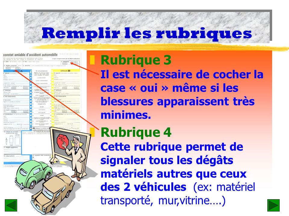 Remplir les rubriques zRubrique 1 Afin déviter toute erreur, il est indispensable de préciser la date et lheure. zRubrique 2 Soyez aussi précis que po