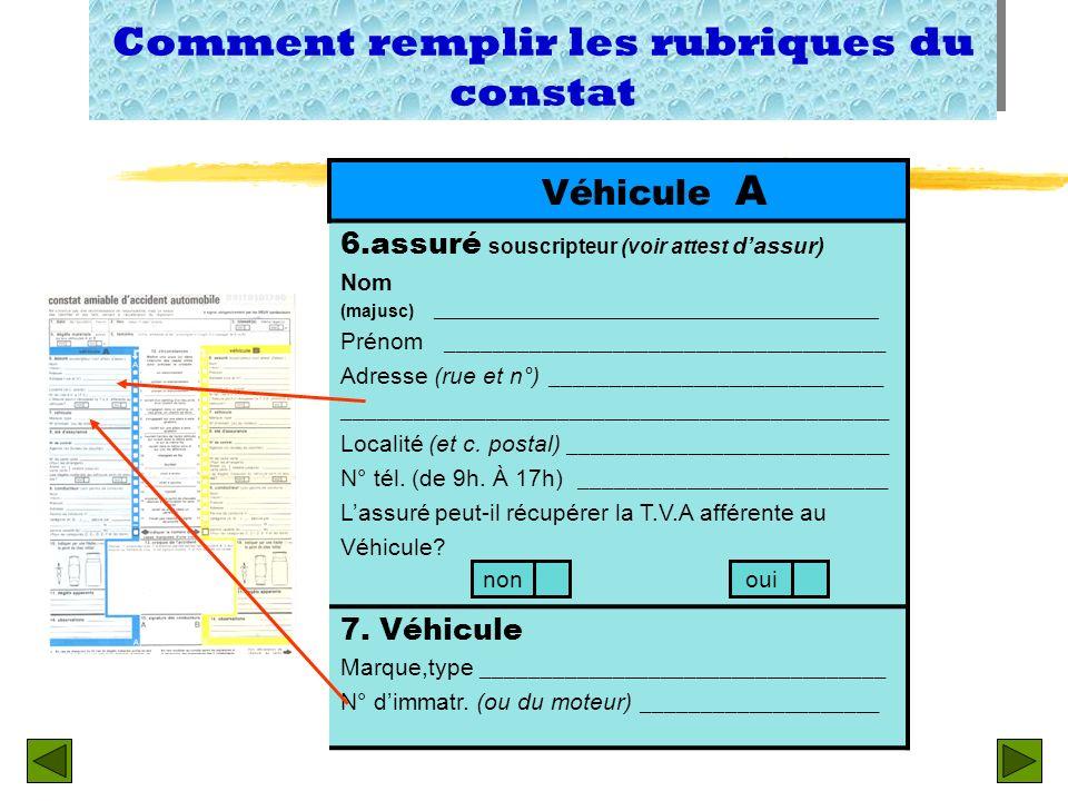 5. Témoins noms, adresses et tel ( à souligner sil sagit dun passager de A ou B) 4. Dégâts matériels autres quaux véhicules A et B 2. Lieu (pays, n° d
