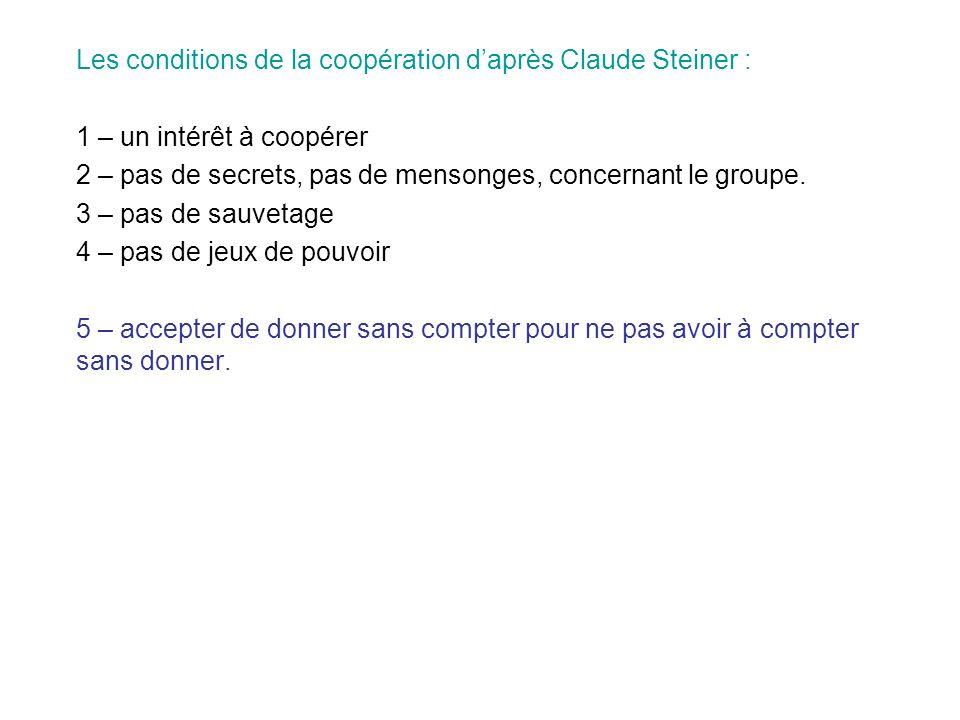 Les conditions de la coopération daprès Claude Steiner : 1 – un intérêt à coopérer 2 – pas de secrets, pas de mensonges, concernant le groupe. 3 – pas