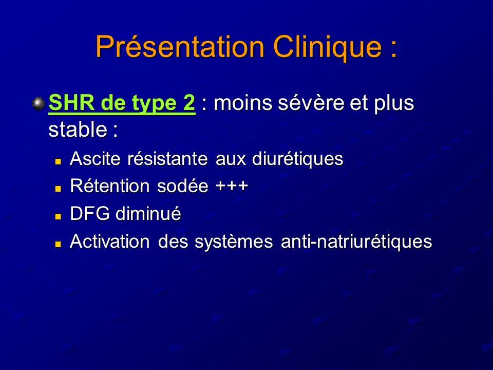 Présentation Clinique : SHR de type 2 : moins sévère et plus stable : Ascite résistante aux diurétiques Ascite résistante aux diurétiques Rétention so