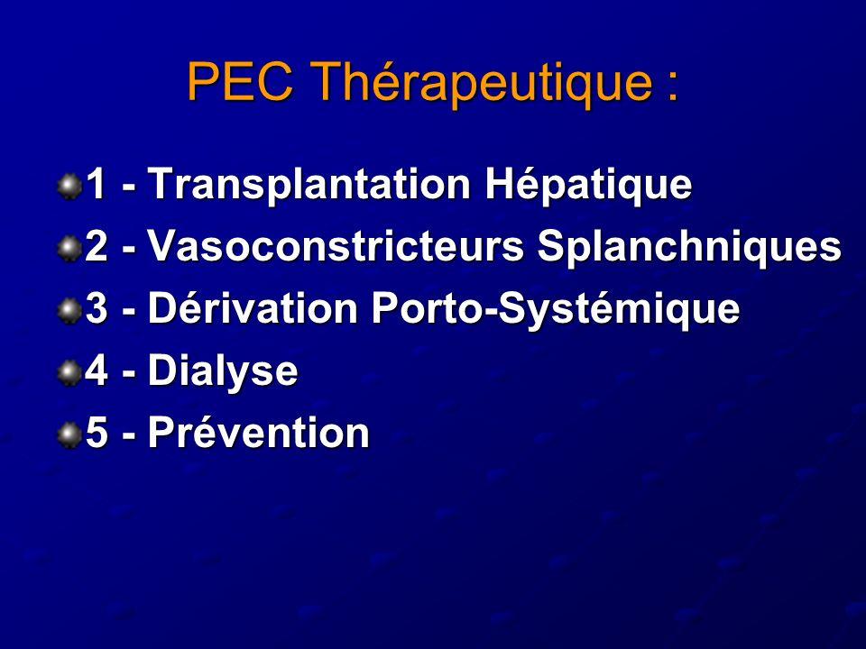 PEC Thérapeutique : 1 - Transplantation Hépatique 2 - Vasoconstricteurs Splanchniques 3 - Dérivation Porto-Systémique 4 - Dialyse 5 - Prévention