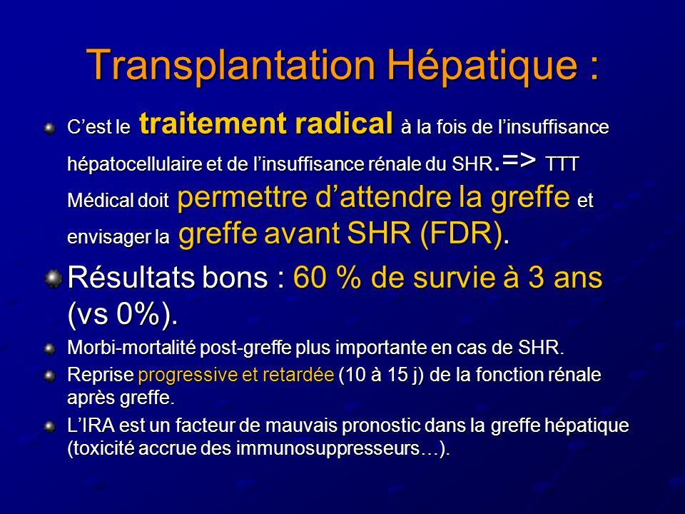 Transplantation Hépatique : Cest le traitement radical à la fois de linsuffisance hépatocellulaire et de linsuffisance rénale du SHR.=> TTT Médical doit permettre dattendre la greffe et envisager la greffe avant SHR (FDR).