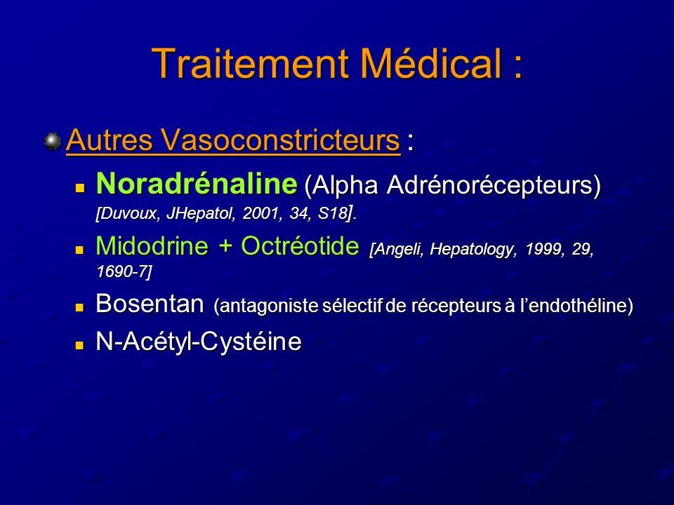 Traitement Médical : Autres Vasoconstricteurs : Noradrénaline (Alpha Adrénorécepteurs) [Duvoux, JHepatol, 2001, 34, S18 ].