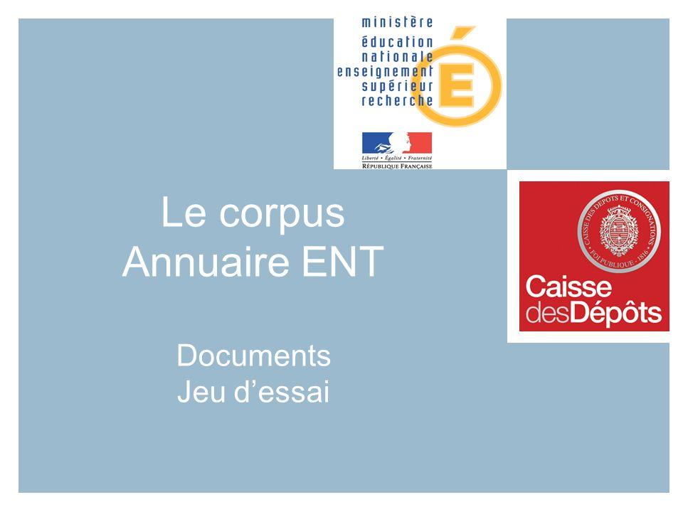 Le corpus Annuaire ENT Documents Jeu dessai