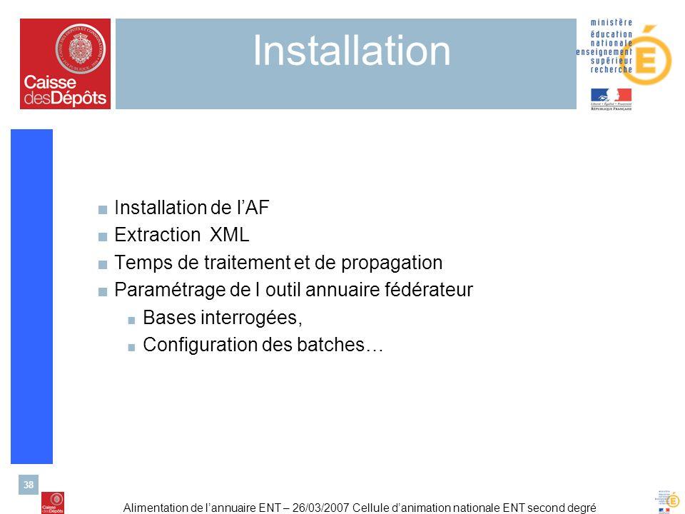 Alimentation de lannuaire ENT – 26/03/2007 Cellule danimation nationale ENT second degré 38 Installation Installation de lAF Extraction XML Temps de t