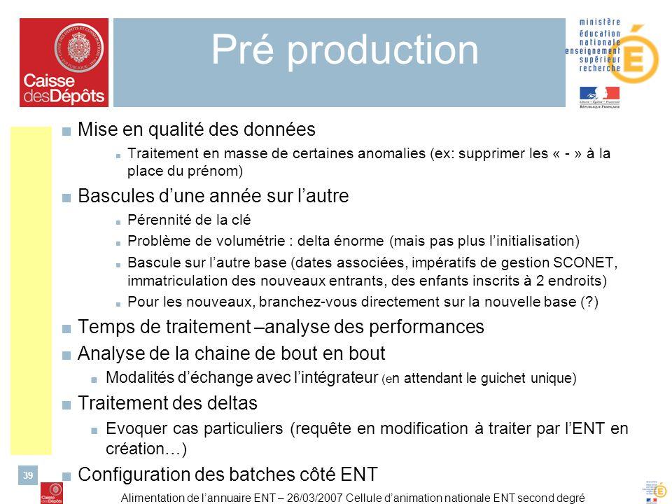 Alimentation de lannuaire ENT – 26/03/2007 Cellule danimation nationale ENT second degré 39 Pré production Mise en qualité des données Traitement en m
