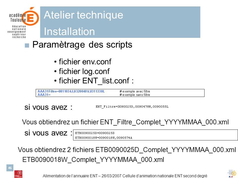 Alimentation de lannuaire ENT – 26/03/2007 Cellule danimation nationale ENT second degré 46 Atelier technique Installation Paramètrage des scripts fic