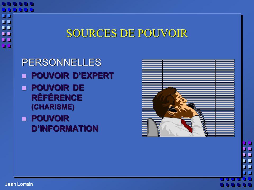 Jean Lorrain SOURCES DE POUVOIR PERSONNELLES n POUVOIR DEXPERT n POUVOIR DE RÉFÉRENCE (CHARISME) n POUVOIR DINFORMATION