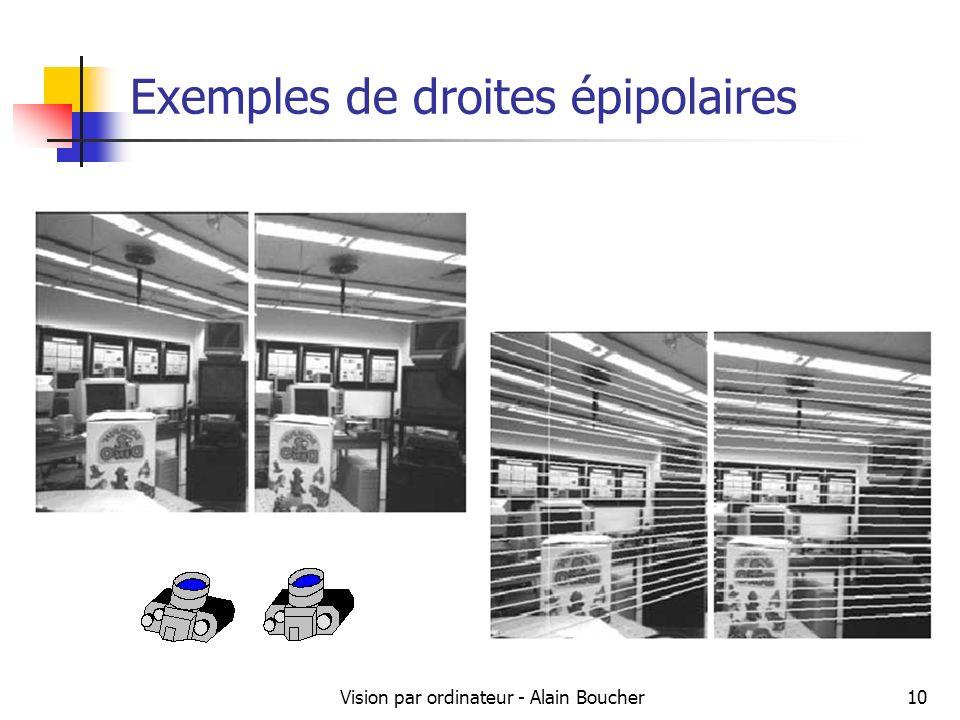 Vision par ordinateur - Alain Boucher10 Exemples de droites épipolaires